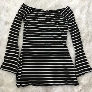 Boston Proper Black & Off-White Striped Long Top